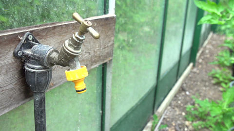 Slow Motion Sequence Of Dripping Tap In Garden stock footage