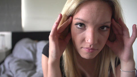 Slow Motion Sequence Of Unhappy Teenage Girl In Be Footage