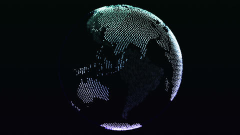 Globe Apear From Particles Animation