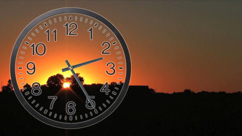 Clock With Sunset Time Lapse 02 Footage