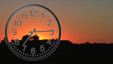 Clock With Sunset Time Lapse 02 Stock Video Footage