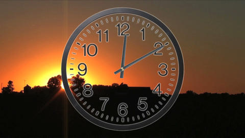 Clock With Sunset Time Lapse Stock Video Footage