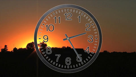 Clock With Sunset Time Lapse Footage