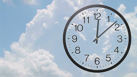 Clock With Clouds Time Lapse 03 Stock Video Footage
