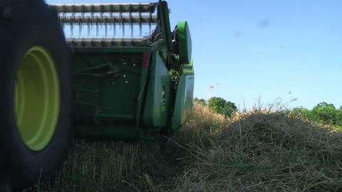 Combine Harvesting Wheat 02 Stock Video Footage