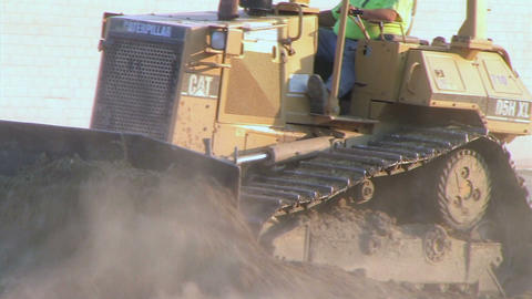 Dozer Clears Edge of Road Footage