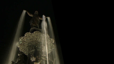 Statue Fountain At Night Footage
