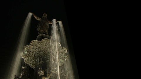 Statue Fountain At Night Stock Video Footage