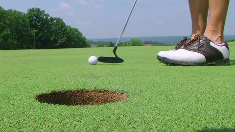 Golfer Sinks Putt 02 Footage