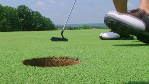 Golfer Sinks Putt 02 Stock Video Footage