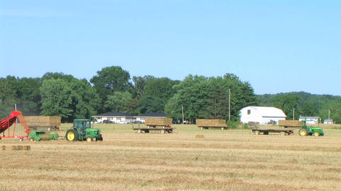 Farmer Square Baling Hay 02 Footage