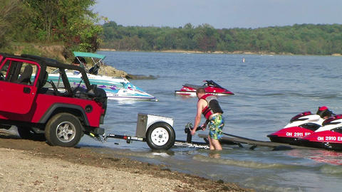 Loading Jet Skis Time Lapse Stock Video Footage