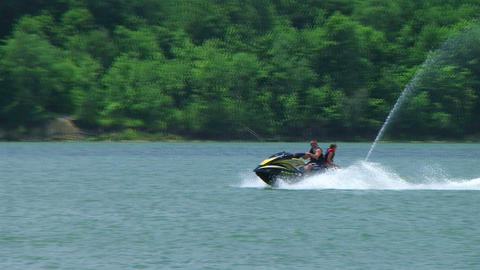 Young Couple On Jet Ski 02 Stock Video Footage