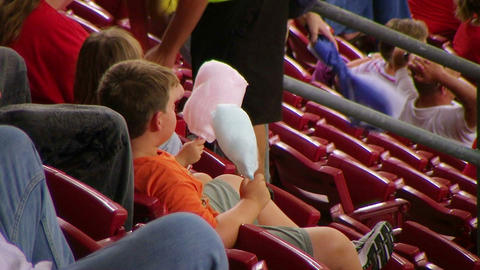 Kids Eating Cotton Candy Stock Video Footage