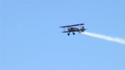 Biplane Trails Smoke 02 Stock Video Footage