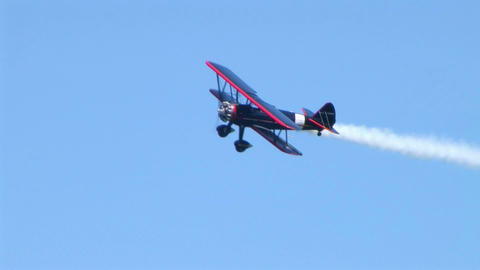 Biplane Trails Smoke 02 Footage