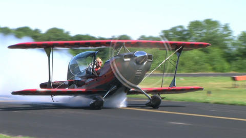 Biplane Taxiing with Smoke Footage