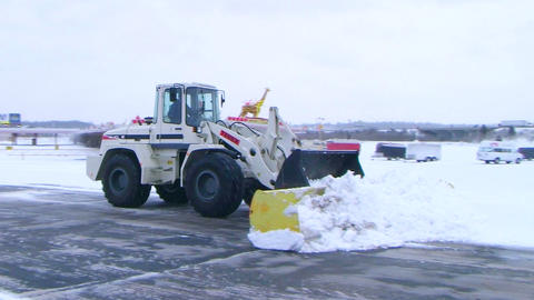 Snow Plow Clearing Lot 02 Footage