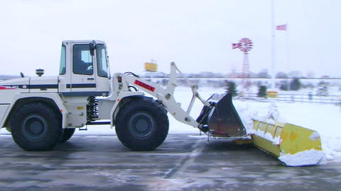 Snow Plow Clearing Lot 02 Stock Video Footage