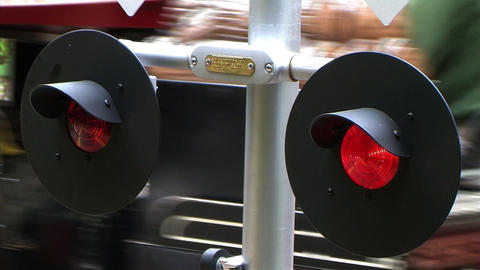 Flashing Railroad Signal with Train Passing Footage