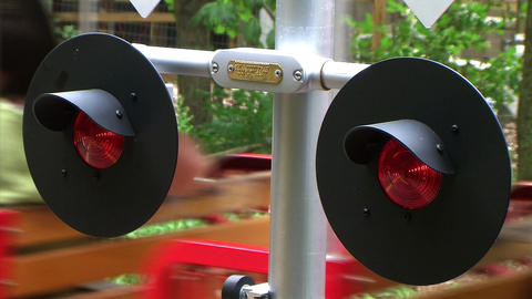 Flashing Railroad Signal with Train Passing Stock Video Footage