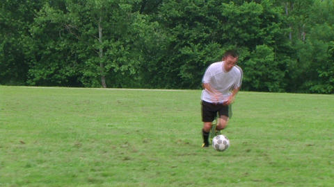 Soccer Player Dribbling Stock Video Footage