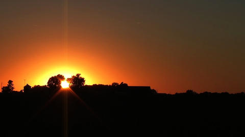 Midwest Farmhouse Sunset Stock Video Footage