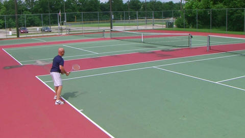 Tennis Player Volleys Footage