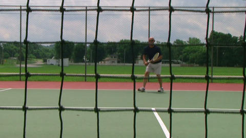 Tennis Player Volleys 03 Stock Video Footage