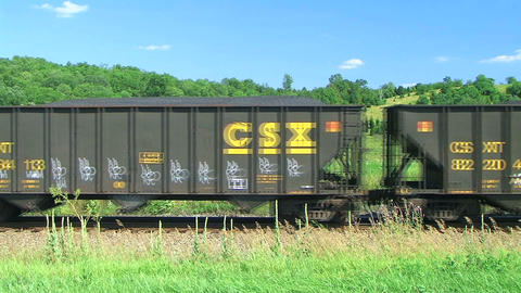 Freight Train in the Country Stock Video Footage