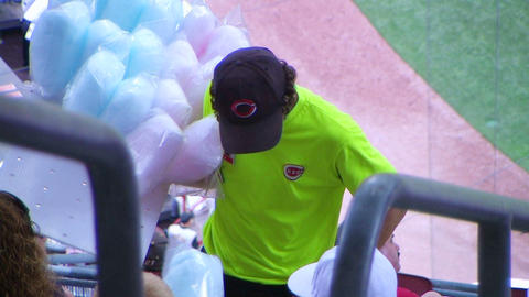 Cotton Candy Ballpark Vendor 02 Stock Video Footage