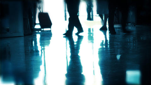 Silhouettes of travellers at the airport Stock Video Footage