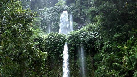 two rain forrest waterfall tilt Stock Video Footage