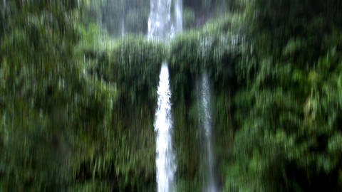 two rain forrest waterfall tilt Stock Video Footage
