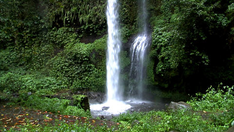 two rain forrest waterfall tilt Footage