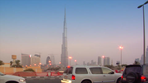 TL no logo traffic becoming night stars burj dubai Stock Video Footage