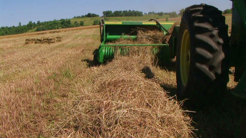 Square Baling Hay 02 Stock Video Footage