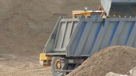 loading truck with sand Stock Video Footage