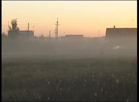 province suburb in fog Stock Video Footage