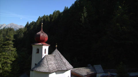fly by little alp chapel Stock Video Footage