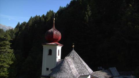 fly by little alp chapel Stock Video Footage