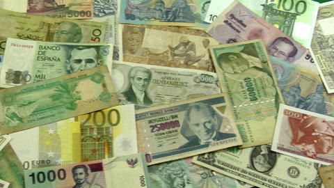 world money dolly Stock Video Footage