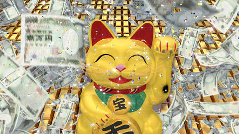Beckoning Cat Big smile g ua CG動画素材