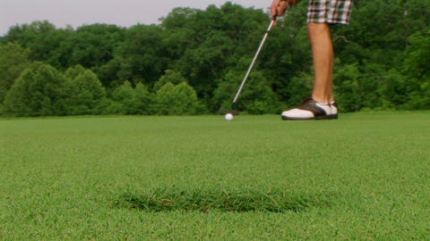 Golfer Sinks Putt 05 Stock Video Footage