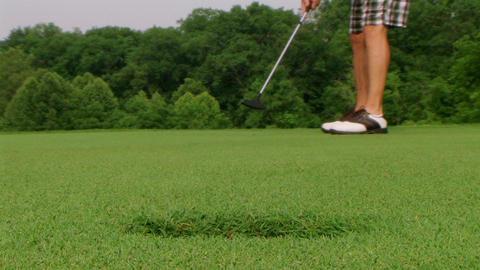 Golfer Sinks Putt 05 Stock Video Footage