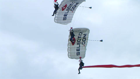 Skydivers Parachuting In Formation 02 Stock Video Footage