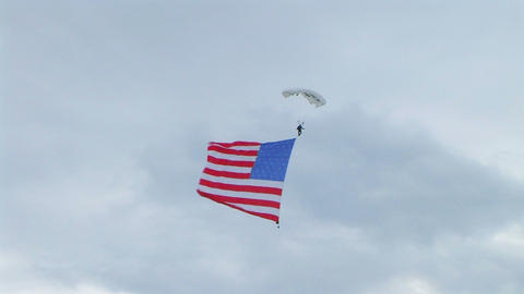Skydiver Parachuting With Flag 02 Stock Video Footage