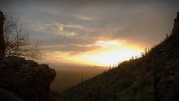 (1164) Twilight Arizona Desert Sunset Clouds with Cactus... Stock Video Footage