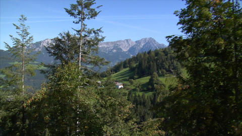 fly down alp mountain chalet view Stock Video Footage