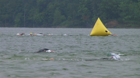 Swimmers Racing In Triathlon 04 Footage